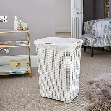 Faux Rattan Laundry Basket