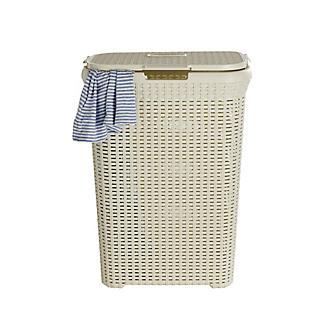 Curver Faux Rattan Lidded Laundry Basket 60L alt image 4
