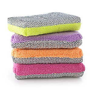 4 Dual-Action Microfibre Kitchen Sponges