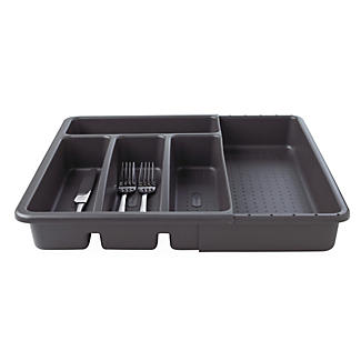 Expanding Drawer Organiser Cutlery Tray 4-5 Hole - Black