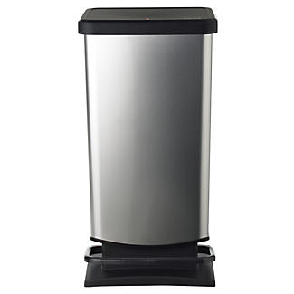 Rotho Kitchen Waste Pedal Bin - Metallic Effect 40L