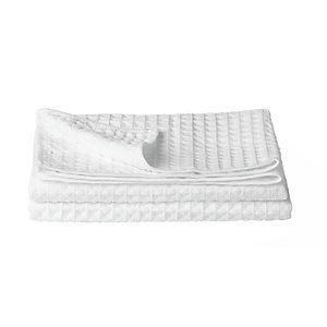 2 White Polyester Mix Waffle Tea Towels