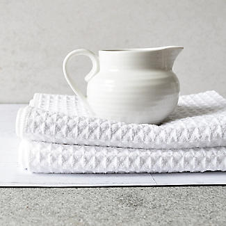 2 White Polyester Mix Waffle Tea Towels alt image 2