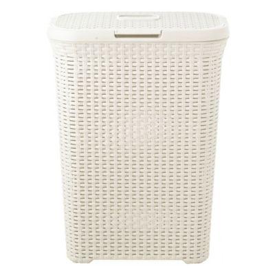 Slim faux rattan laundry basket 40 litre - Rattan laundry basket with lid ...