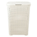 Slim Faux Rattan Laundry Basket