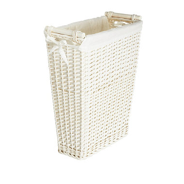 White Slimline Laundry Basket