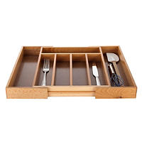 Expanding Drawer Organiser Cutlery Tray 5-7 Hole - Wooden