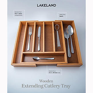 Expanding Drawer Organiser Cutlery Tray 5-7 Hole - Wooden alt image 2
