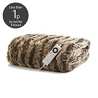 De Luxe Faux Fur Electric Heated Throw -