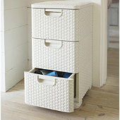 3 Drawer Faux Rattan Unit