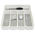 Stay Put Drawer Organiser Cutlery Tray 5 Hole - White