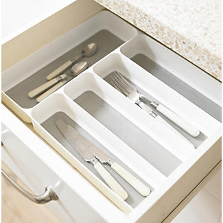 Stay Put Drawer Organiser Cutlery Tray 5 Hole - White alt image 2