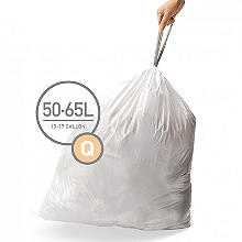 20 simplehuman Size Q Drawstring Bin Liners - White Bags 50L