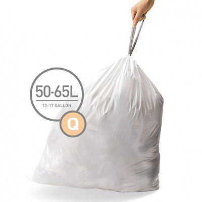 20 simplehuman Size Q Drawstring Bin Liners  White Bags 50L