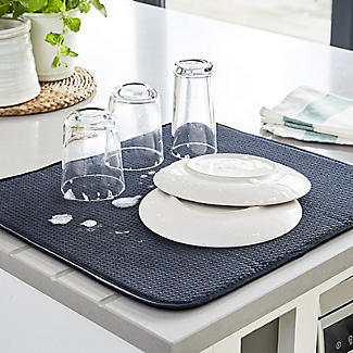 Diamond Dish Drying Mat For Glasses and Cups - Black alt image 2