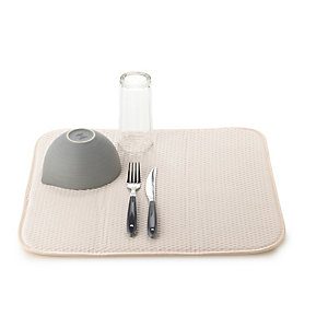 Diamond Dish Drying Mat For Glasses & Cups - Cream
