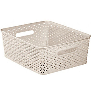 Small Faux Rattan Storage Basket