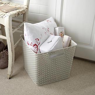 Square Faux Rattan Storage Basket alt image 2