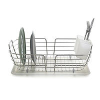 Curved Edge Small Compact Dish Drainer Rack - Stainless Steel