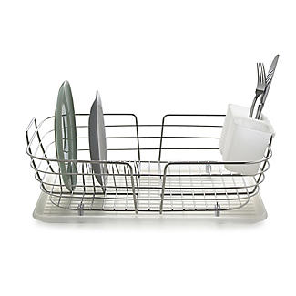 Curved Edge Small Compact Dish Drainer Rack Stainless Steel