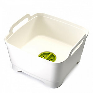 Joseph Joseph®  Wash & Drain Washing Up Bowl & Draining Plug - White