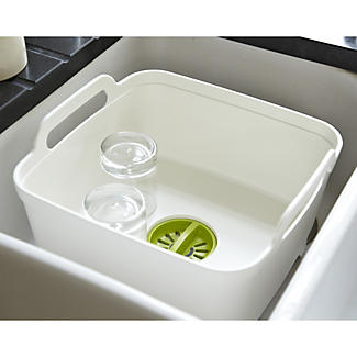 Joseph Joseph®  Wash & Drain Washing Up Bowl & Draining Plug - White alt image 2