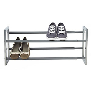 Extending & Stackable Steel 10 Pair Shoe Rack - Silver