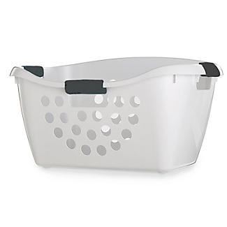 Easy Load White Plastic Laundry Washing Basket 50L alt image 1