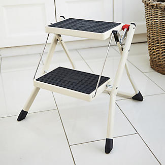Foldable Portable 2 Tier Handy Step Stool - Cream (Holds 150kg)