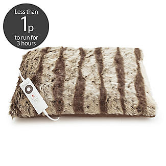 De Luxe Faux Fur Electric Heated Cushion - 48 x 38cm
