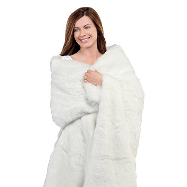 Polar White Faux Fur Heated Throw