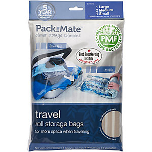 4 Pack Mate Anti Mould Clothes Vacuum Travel Bags (Assorted Sizes)