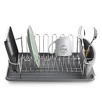 Curved Board Tidy Dish Drainer Rack - Grey
