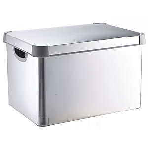 Metallic Silver Decorative Storage Box