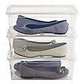 3 Stackable Clear Plastic Shoe Storage Boxes - Size 12 Shoe