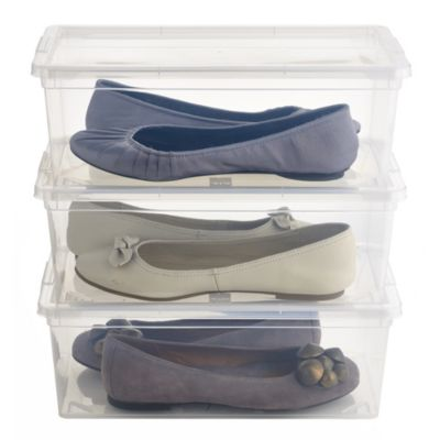 3 Stackable Clear Plastic Shoe Storage Boxes  Size 12 Shoe