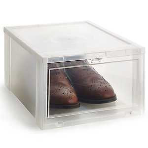 Drop Front Stackable Clear Plastic Shoe Storage Box - Size 12 Shoe