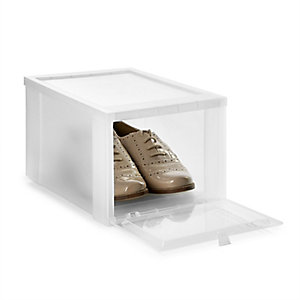 Drop Front Stackable Clear Plastic Shoe Storage Box - Size 8 Shoe