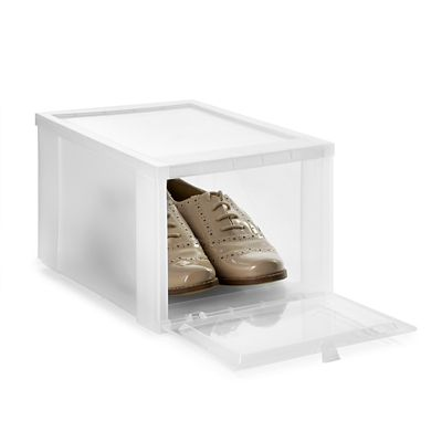 Drop Front Stackable Clear Plastic Shoe Storage Box  Medium