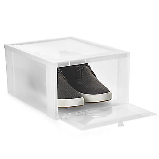 Drop Front Stackable Clear Plastic Shoe Storage Box - Medium alt image 2