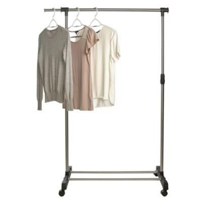 extending single pole garment rail on wheels. Black Bedroom Furniture Sets. Home Design Ideas