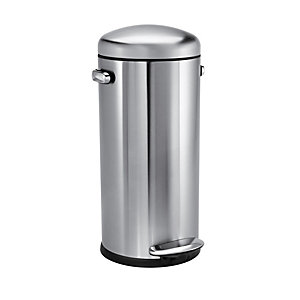 simplehuman 30L Retro Bin Brushed Stainless Steel