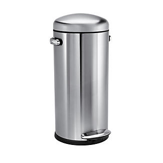 simplehuman Retro Diner-Style Kitchen Waste Pedal Bin - Silver 30L alt image 1