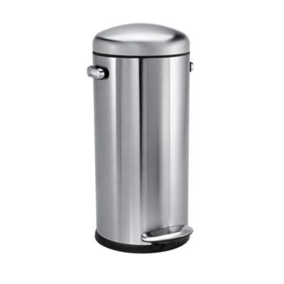 simplehuman Retro DinerStyle Kitchen Waste Pedal Bin  Silver 30L