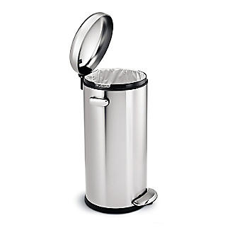 simplehuman Retro Diner-Style Kitchen Waste Pedal Bin - Silver 30L alt image 2
