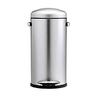 simplehuman Retro Diner-Style Kitchen Waste Pedal Bin - Silver 30L alt image 5