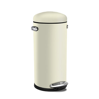 simplehuman Retro Diner-Style Kitchen Waste Pedal Bin - Cream 30L