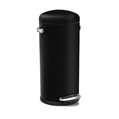 simplehuman Retro Diner-Style Kitchen Waste Pedal Bin - Black 30L