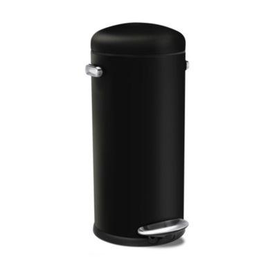 simplehuman Retro DinerStyle Kitchen Waste Pedal Bin  Black 30L