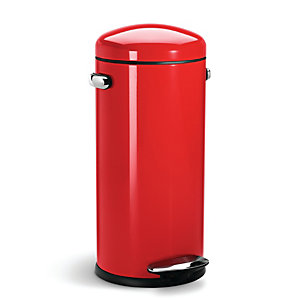 simplehuman Retro Diner-Style Kitchen Waste Pedal Bin - Red 30L